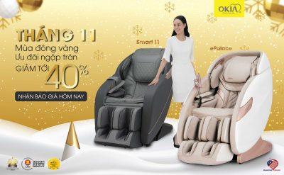 Mùa đông vàng – Ưu đãi tháng 11 ngập tràn ghế massage OKIA